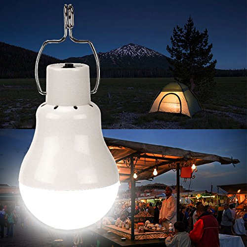 Solar LED Security Light,Diamondo Solar Powered White LED Camping Tent Light Rechargeable Night Lamp Lantern by Diamondo