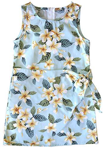 RJC Girl's Yellow Plumeria Sarong Hawaiian Dress, Aquamarine, 14 by RJC
