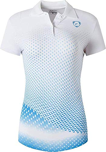 jeansian Women's Outdoor Sport Quick Dry Polo T-Shirt SWT251 WhiteBlue S