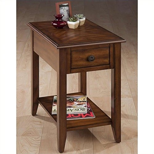 Jofran 1031-7 16 by 24 by 24-Inch Chairside Table with Bookmatch Inlay and Drawer with Round Antique Bronze Floret Hardware, Medium Brown Finish