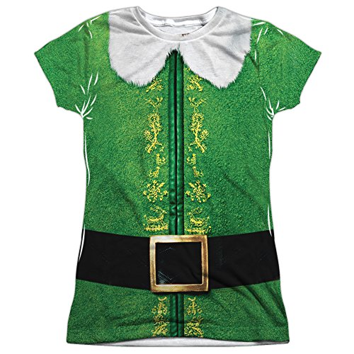 Junior Fit - Elf Movie - Buddy Costume All Over Print (Buddy The Elf Womens Costume)