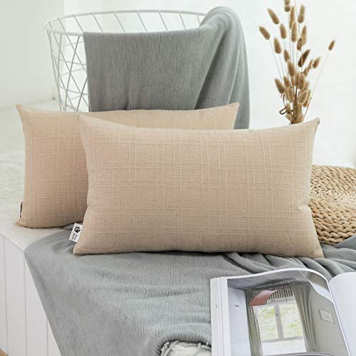 Kevin Textile Decorative Checkered Pillow Covers Simple Style Cushion Case Linen Throw Pillowcase for Sofa Car Bed, Set of 2, 12 x 20 Inch, Wheat