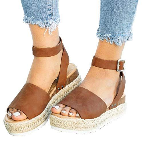 Athlefit Women's Platform Sandals Espadrille Wedge Ankle Strap Studded Open Toe Sandals Size 10.5 Brown