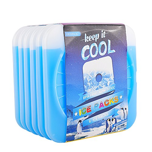 OICEPACK Ice Pack Ice Packs for Lunch Box Cool Packs for Cooler Thin Ice Packs Fits Lunch Bags Gel Ice Packs Stay Cold for Long Time Freezable Cooler Packs Freezer Packs keeps Food Cold Fresh (6)