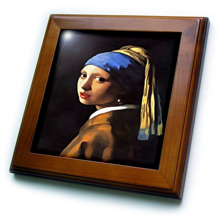 3dRose 3D Rose Girl with a Pearl Earring After Johannes Vermeer - Framed Tile, 8 by 8-inch ()