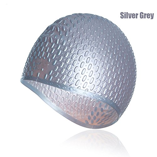 Unisex Long Hair Waterproof Swimming Caps(Grey) - 9