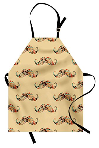 Lunarable Vintage Apron, Oriental Style Hipster Mustache with Pastel Colored Vintage Owl Bicycle Shapes and Pipe, Unisex Kitchen Bib with Adjustable Neck for Cooking Gardening, Adult Size, Ecru
