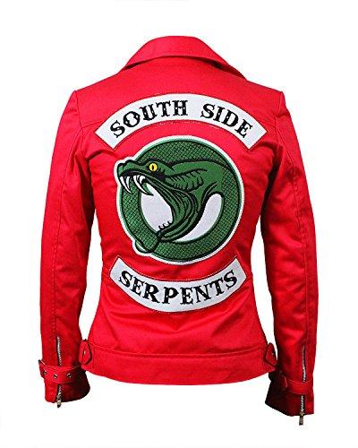 100 Delle Hi Pelle Serpenti Giacca Cotone Southside Finta E Morbido Vera Riverdale Donne Di Fiore Cheryl Rosso Qualità tcawW87q