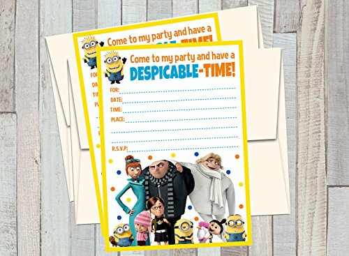 12 DESPICABLE ME 3 Birthday Invitations (12 5x7in Cards, 12 matching white envelopes)