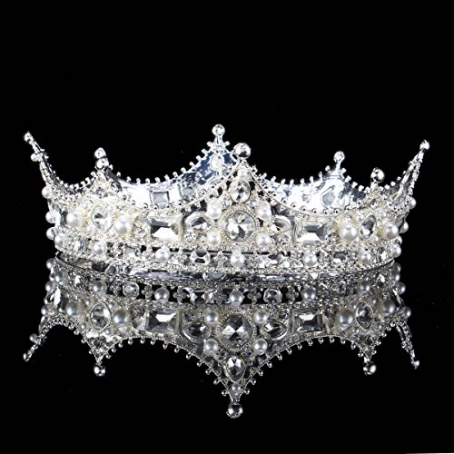 FUMUD Baroque Vintage Black Rhinestone Beads Round Big Crown Wedding Hair Accessories Luxury Crystal Queen King Crowns Bridal Tiaras (Silver)]()