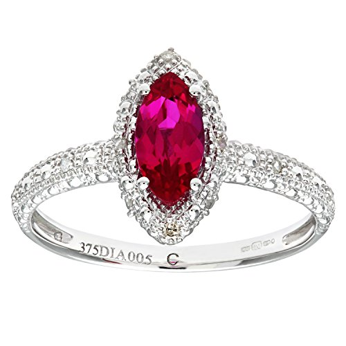 Naava Women's 9 ct White Gold Round Brilliant Cut Created Marquise Ruby and...
