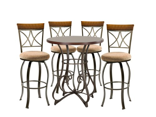 Powell Dining Table Set (Powell Hamilton Pub Table Set with 4 Swivel Bar Stools, 5-Piece)