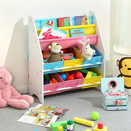 SONGMICS Toy and Book Storage Organiser Shelf Unit with Fabric Containers 3-Tier Book Rack 63 x 26.5 x 74 cm (W x D x H) GKR36WT