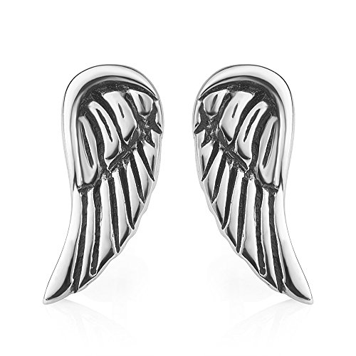 Chuvora 925 Oxidized Sterling Silver Vintage Tiny Little Angel Wings Post Stud Earrings 13 mm