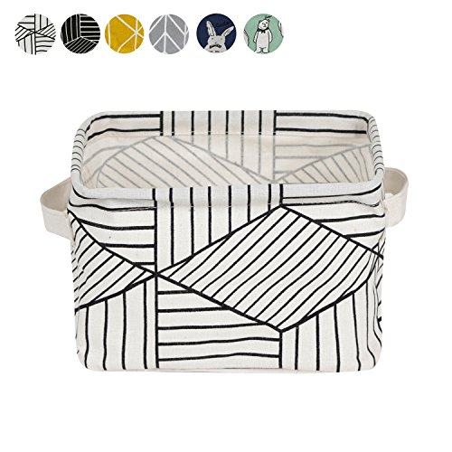 Small Foldable Storage Basket Canvas Fabric Waterproof Organizer Collapsible and Convenient for Nursery Babies Room 100% Cotton with Handle (White)