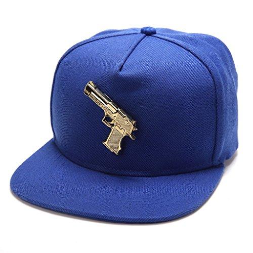 MCSAYS 18k Gold Gun Iced Out Hip Hop Flat Brim Anti-UV Snapback Baseball Cap Hat Sunbonnet Cotton Adjustable Men's Women's Accessory Cool, ()