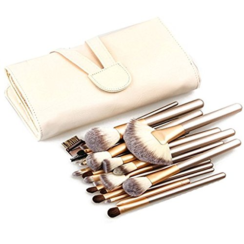 Makeup Brush Set, 24 Pcs Makeup Brush Professional Wood Handle Premium Synthetic Kabuki Foundation Blending Blush Concealer Eye Face Liquid Powder Cream Cosmetics Lip Brush Tool Brushes Kit