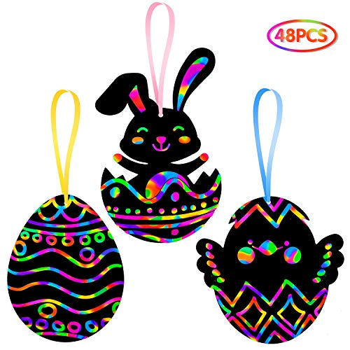 Easter Crafts Kit for Kids - Rainbow Scratch Art (Makes 48 Ornaments) - Bunny Eggs Chicks Decoration for Home Tree Classroom Party