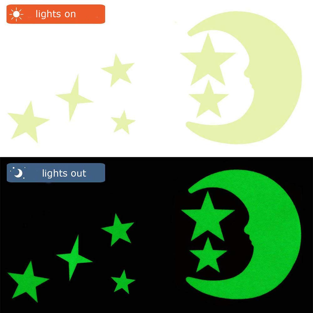 GLEADING Glow in The Dark Stickers Muraux d/'Etoiles et Lune 533 Stickers Muraux Lumineux d/'Etoiles et Lune Parfait pour Chambre de B/éb/é et dEnfant Chambre Salon Cadeau dAnniversaire