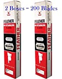 Pack of 2 Boxes (200 Blades) FEATHER Hi Stainless Platimum Coated Doubled Edge Razor Blades Red Box 200 Blades by mewinshop