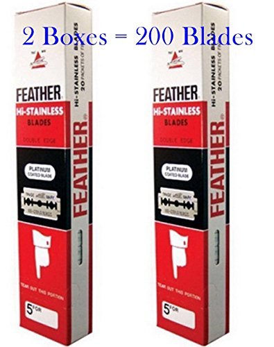 Pack of 2 Boxes (200 Blades) FEATHER Hi Stainless Platimum Coated Doubled Edge Razor Blades Red Box 200 Blades by - Excel Turbine Wind