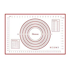 """Daixers Silicone Baking Mats Large 23.62"""" x 15.74"""" ,Non Stick Non Skid Pastry-Mat with Measurements (Red)"""