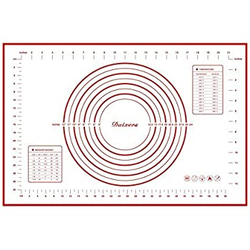 "Daixers Silicone Baking Mats Large 23.62"" x 15.74"" ,Non Stick Non Skid Pastry-Mat with Measurements (Red)"