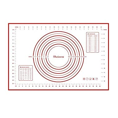 Daixers Silicone Baking Mats Large 23.62  x 15.74  ,Non Stick Non Skid Pastry-Mat with Measurements (Red)
