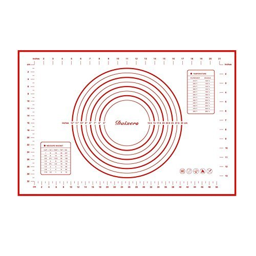 Daixers Silicone Baking Mats Large 23.62 x 15.74 ,Non Stick Non Skid Pastry-Mat with Measurements (Red) SYNCHKG083933