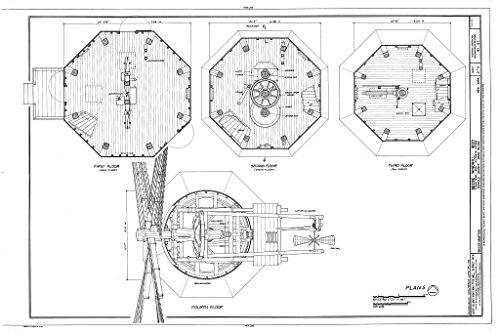 - Historic Pictoric Blueprint Diagram HAER NY,52-BRIG,4- (Sheet 2 of 6) - Beebe Windmill, Hildreath Lane & Ocean Avenue (Moved Several Times), Bridgehampton, Suffolk County, NY 44in x 30in