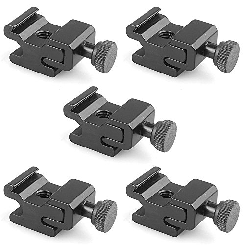 Sofoto Black Metal Cold Shoe Flash Stand Adapter Mount with 1/4-inch -20 Tripod Screw (5 Packs) CS-015