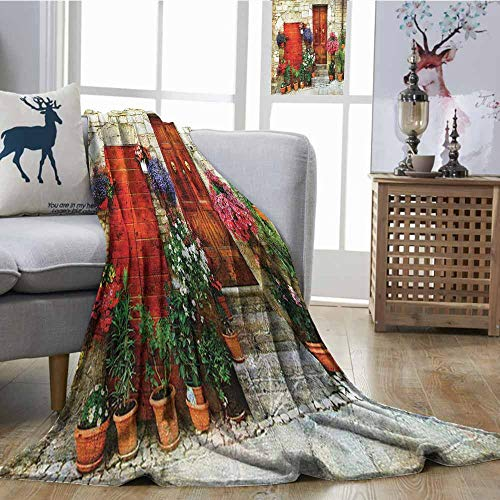 Zmcongz Decorative Throwing Blanket Tuscan Decor Collection Flowers Outside Home in Italian Hilltown of Assisi Door Ultra Soft and Warm Hypoallergenic W54 xL72 Coral Pink Ivory Red Green ()