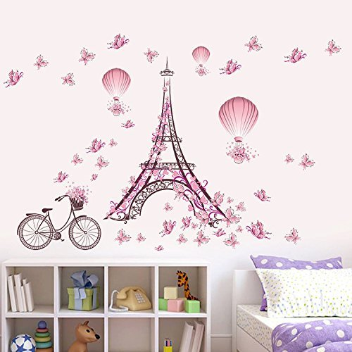 Blue Wallpaper Cut Out (Ferris Store Paris Tower Pink Cute Butterflies Art Decor Home Bedroom Living Room Background Waterproof Wall Stickers 39x26