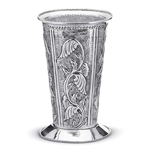 (Bike on Hike Silver Plated Flora Design Vase for Flowers Home Decor Decorative Centerpiece Ornament Table)
