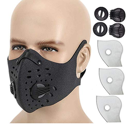 HOLIIBN Anti Pollution Dustproof/Dust Mask with Activated Carbon N99 Filters. Filtration of Exhaust Gas, Pollen Allergy and PM2.5. Cycling Face Mask for Outdoor Activities