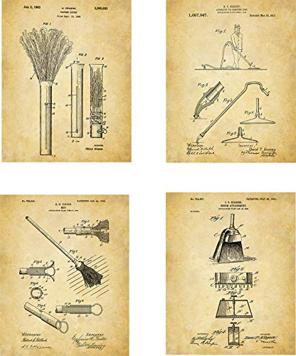 Housekeeping Patent Wall Art Prints - set of Four (8x10) Unframed - wall art decor with cleaning theme ()