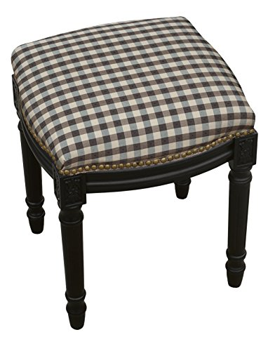 SketchONE Upholstered Vanity Stool, Plaid, Black by SketchONE