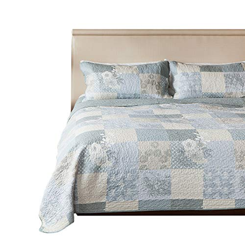 SLPR Cottage Floral 3-Piece 100% Cotton Lightweight Printed Quilt Set (Queen) | with 2 Shams Machine Washable All-Season Bedspread Coverlet