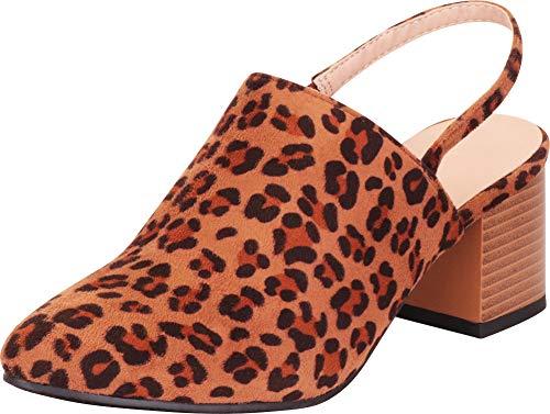 Cambridge Select Women's Pointed Toe Slingback Chunky Block Mid Heel Mule (6 B(M) US, Leopard IMSU)
