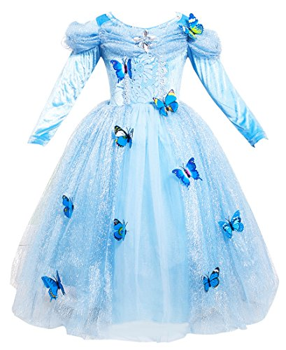 Girls Princess Dress up Costume Blue Butterfly Party Dresses for Halloween Christmas 8-10years Old