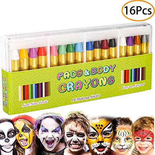 Cinco De Mayo Face Paint (URSKYTOUS 16 Colors Face Paint Kits Non-Toxic Face and Body Makeup Crayons Body Tattoo Sticks for Kids, Children, Toddlers, Adults Cosplay)
