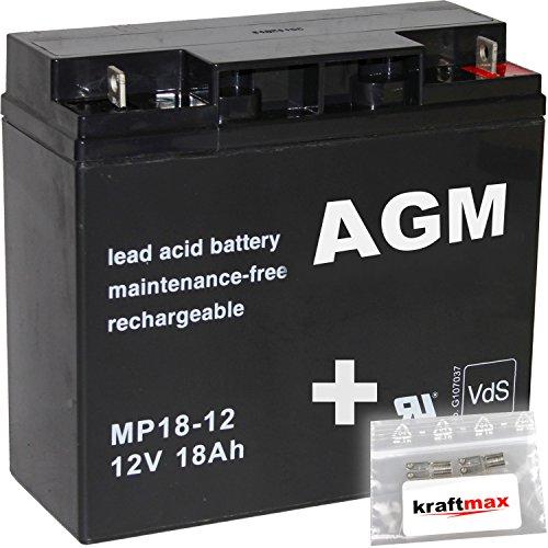 1x AGM 12V / 18Ah Blei-Akku - MP18-12 [ M5 - Bolzen inkl. Schraube und Mutter ] VdS geprüft - inkl. 2x Original Kraftmax Anschluß-Adapter