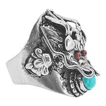 Tibetan Silver Tone White Metal Tibetan Dragon Ring