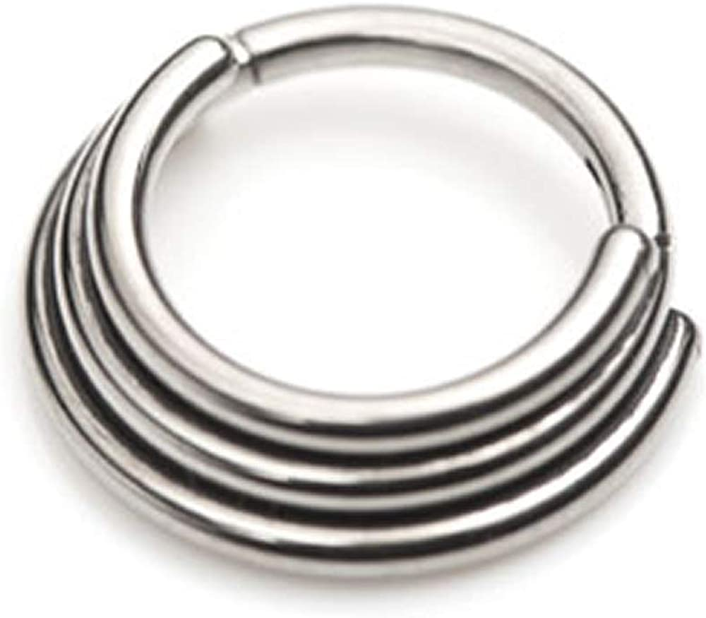 Pierced Modified Highly Polished Titanium Triple Banded Ring