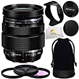 Olympus M. Zuiko Digital ED 12-40mm f/2.8 PRO Lens with Manufacturer Accessories + 3 Piece Filter Kit (UV+CPL+FLD) and Microfiber Cleaning Cloth