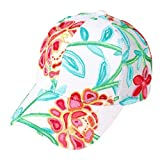 H-6140-75256 Floral Print Trucker Hat - Embroidered (White/Orange)