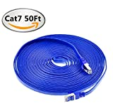 Net_Cafe Blue Cat7 Ethernet Cable Shielded Network RJ45 High Speed   LAN Patch Lead for Home, Office and Outdoor Networking, Gold Plated 10Gbps 600MHz (50 Feet)