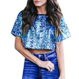 Shirts for Teen Girls Sale Women Sexy Loose Sequin Glitter Blouses Summer Casual Shirts Crop Top Blue