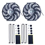 radiator fans - 8milelake 12 inch 12V 80W High Performance Black Slim Electric Cooling Radiator Fan with Fan Mounting Kit (Pack of 2)