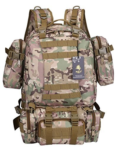 VIDENG POLO PC29 Outdoor Molle Compatible with 3 Detachable Pockets Tactical Military Style 55L(50L+3L+1L+1L) Rucksack Backpack for Camping Hiking Mountain Trekking